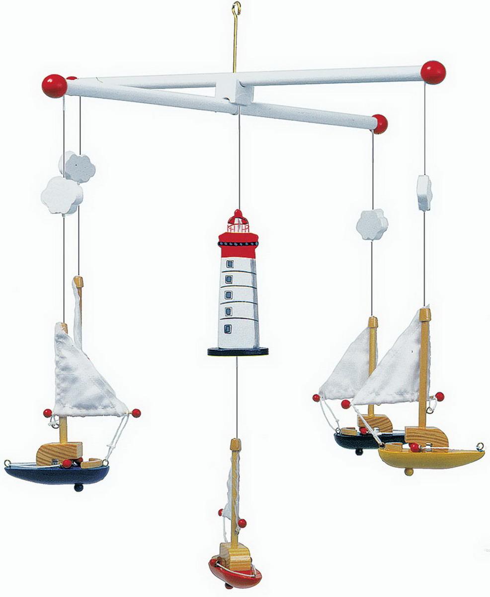 Kolotoč nad postýlku dřevěný s plachetnicemi