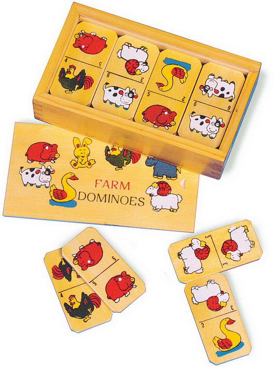 """Domino dětské dřevěné """"Zvířátka z farmy"""" malé"""