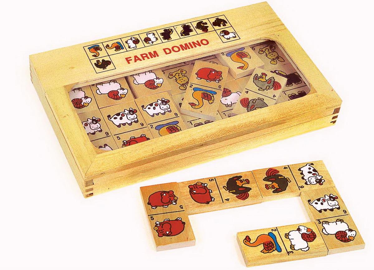 """Domino dětské dřevěné """"Zvířátka z farmy"""" velké"""
