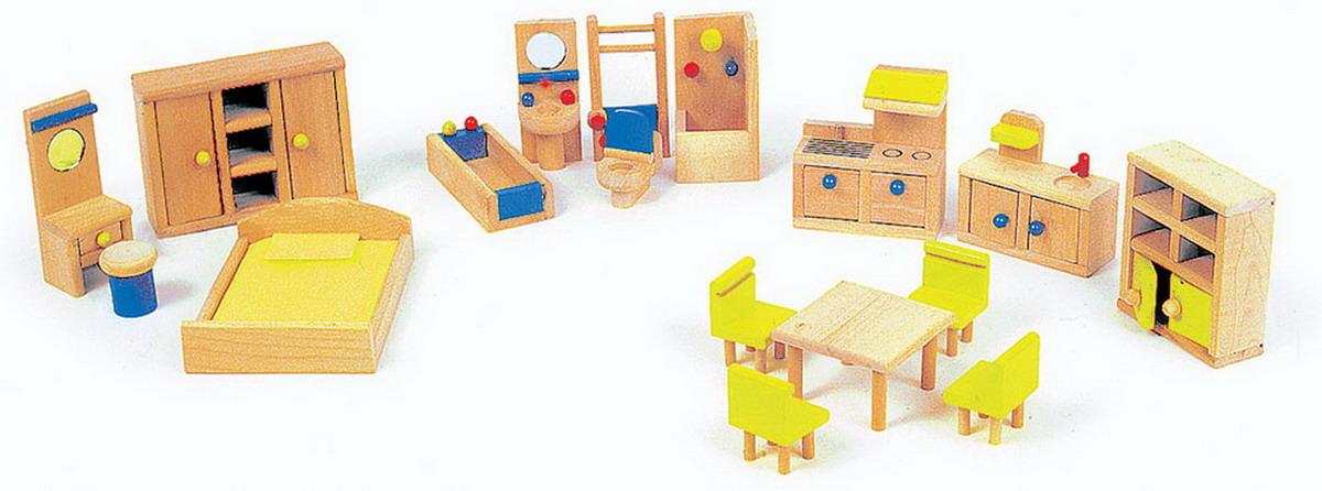 Nábytek pro panenky dřevěný s kuchyní