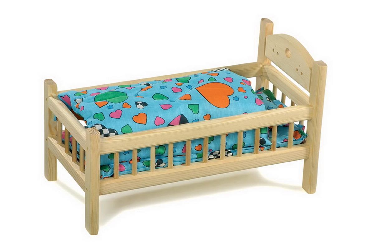 Postel pro panenky dřevěná