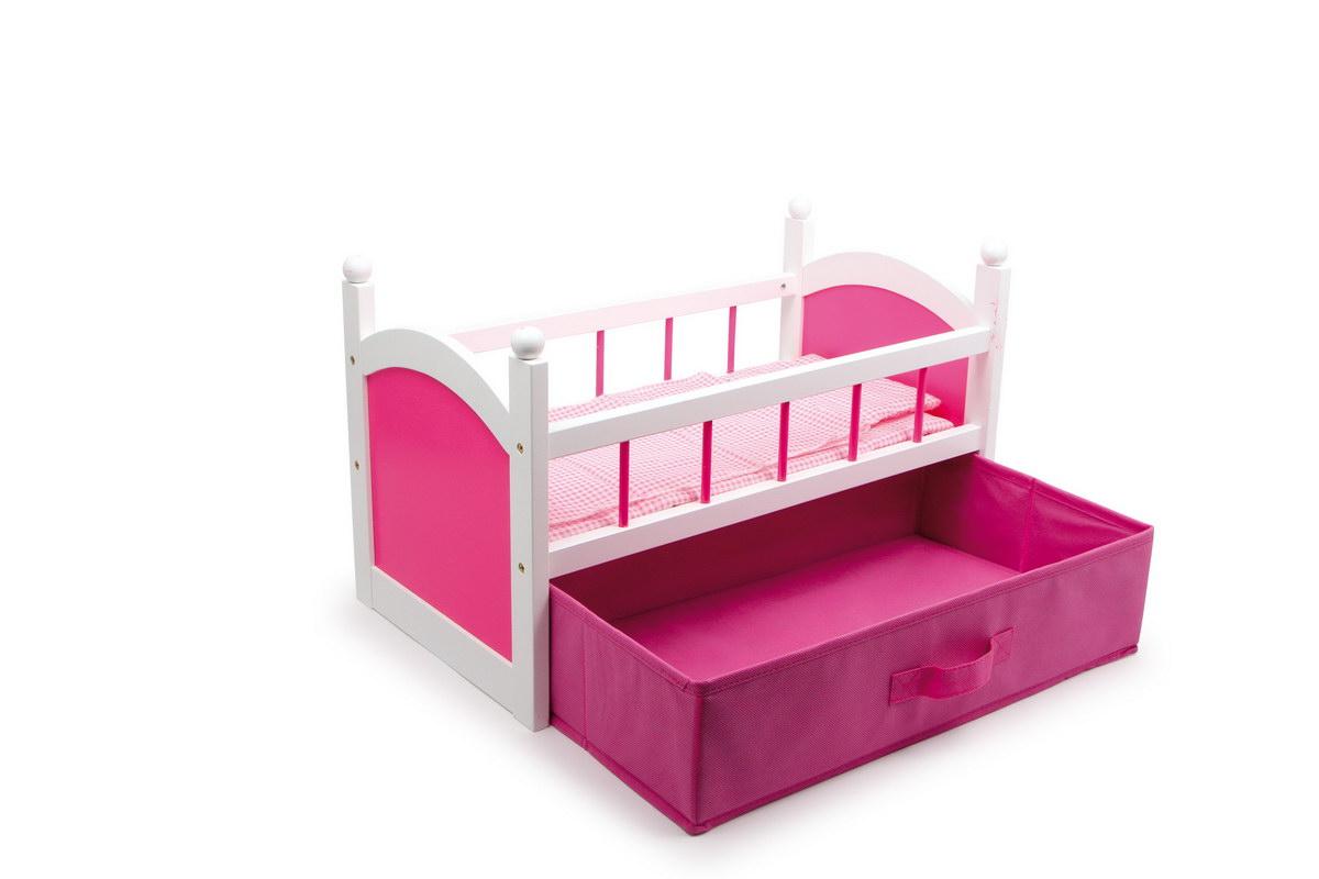 Postel pro panenky dřevěná s úložným prostorem