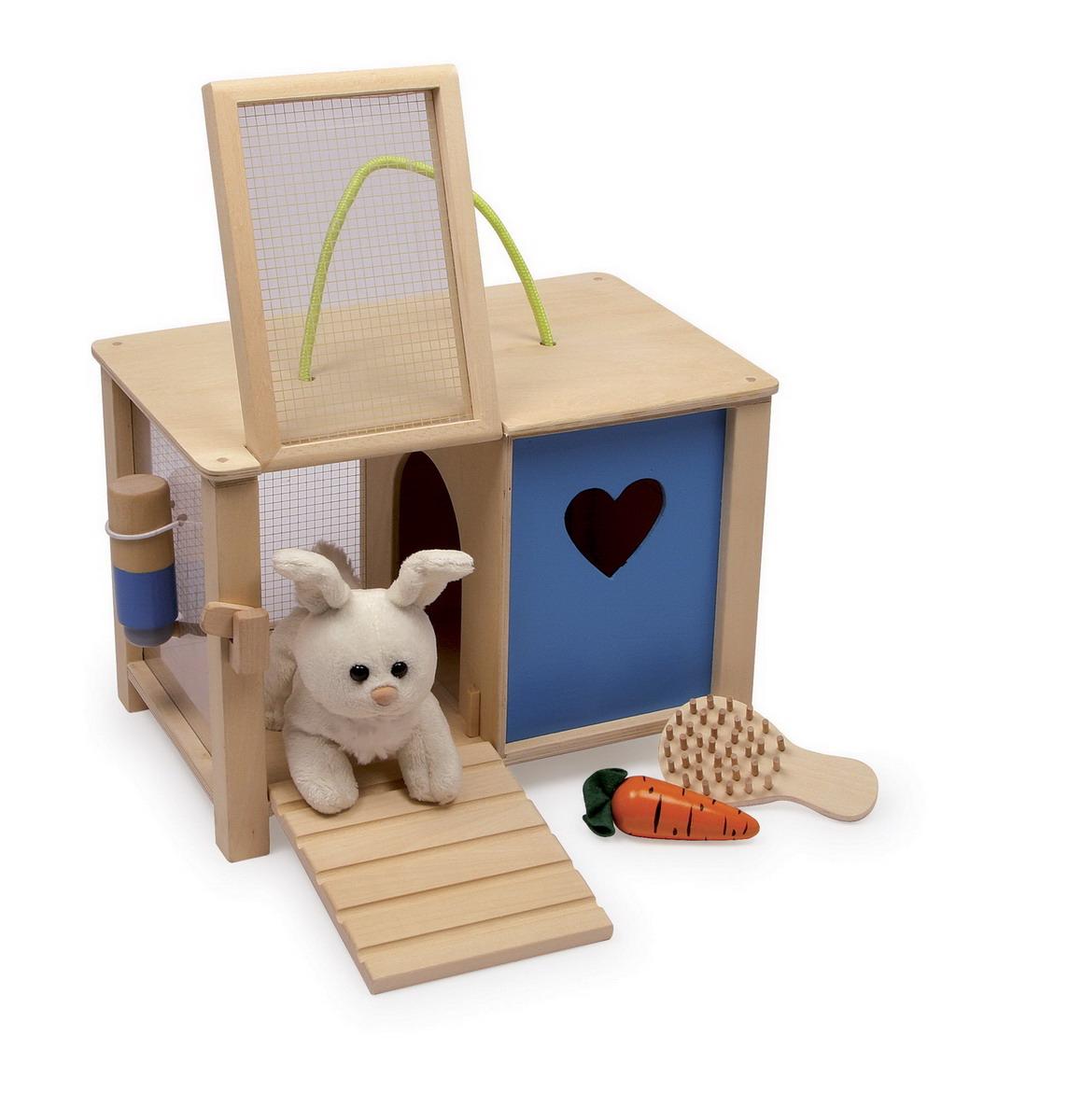Králík plyšový s dřevěnou králíkárnou