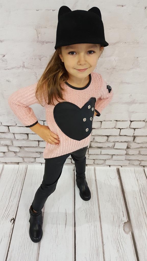 Dívčí svetr růžový - srdce
