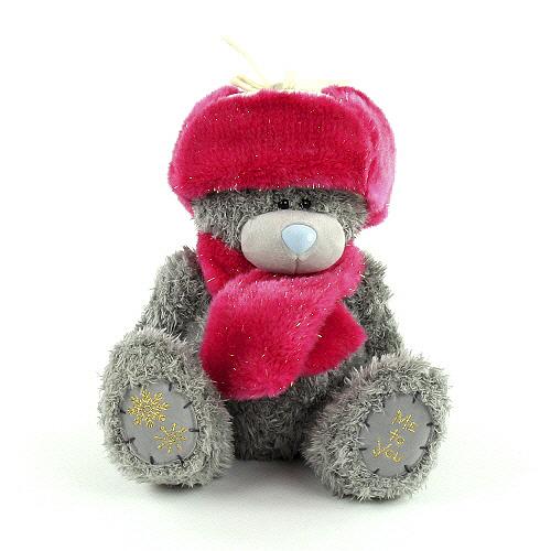 Plyšový medvídek Me to You -růžová beranice a šála