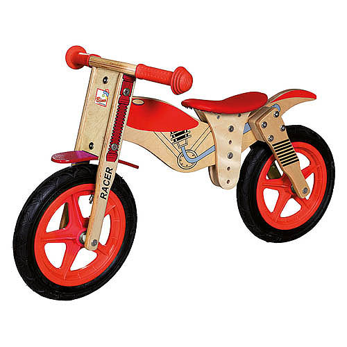 Dětské dřevěné odrážedlo červené - motorka