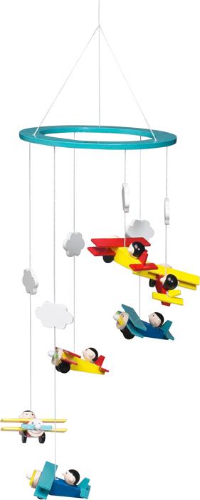 Kolotoč nad postýlku dřevěný s letadýlky