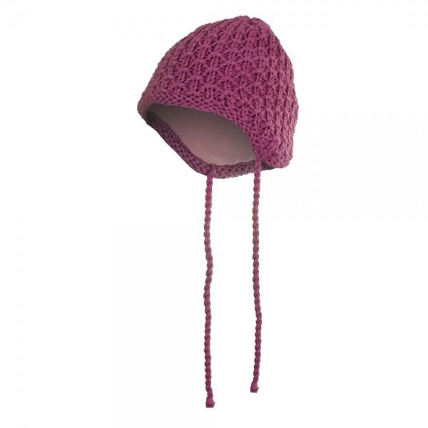 Čepice pletená zavazovací drobný vzor Outlast vel.1-2 růžová
