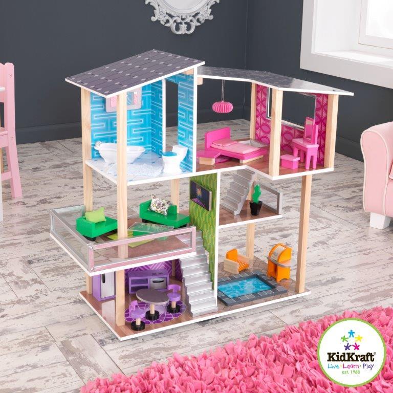 Dřevěný domeček pro panenky moderní