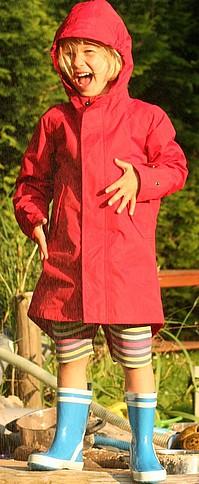 Softlan kabát nepromokavý červený a modrý