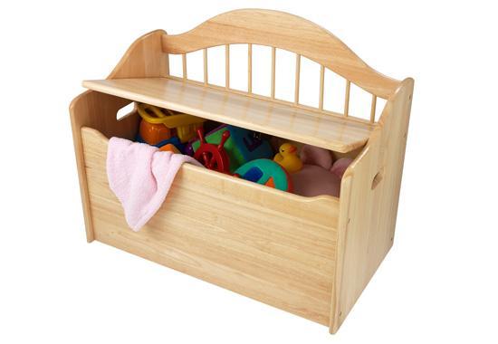 Úložný box na hračky - lavice - přírodní na kolečkách