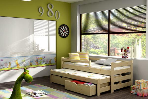 Dětská dřevěná postel s výsuvnou přistýlkou DPV001