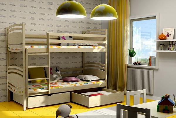 Dětská dřevěná postel patrová PP001