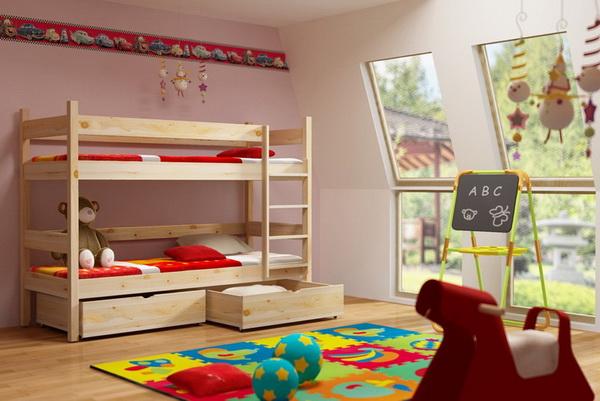 Dětská dřevěná postel patrová PP002