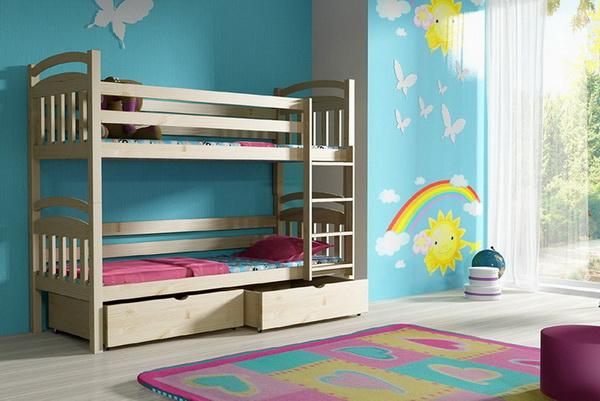 Dětská dřevěná postel patrová PP003