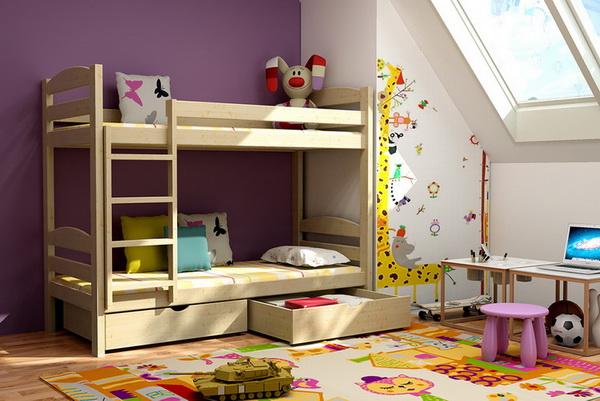 Dětská dřevěná postel patrová PP004