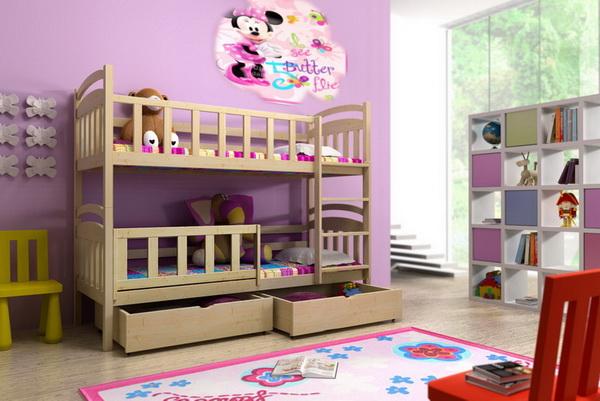 Dětská dřevěná postel patrová PP005