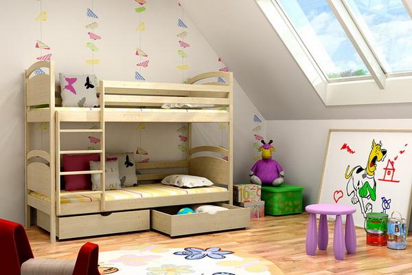 Dětská dřevěná postel patrová PP006