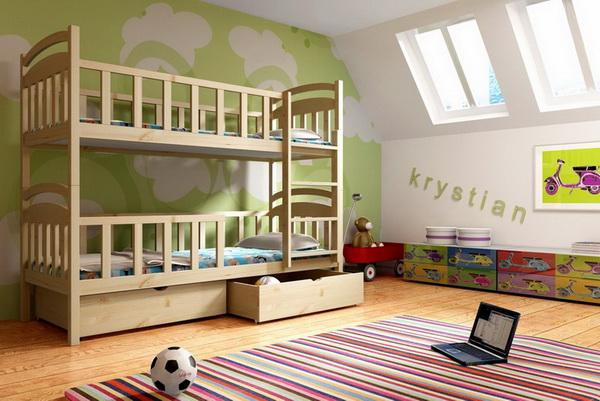 Dětská dřevěná postel patrová PP007