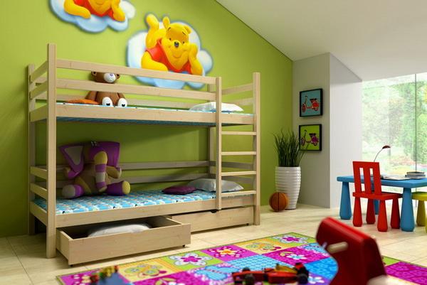 Dětská dřevěná postel patrová PP008