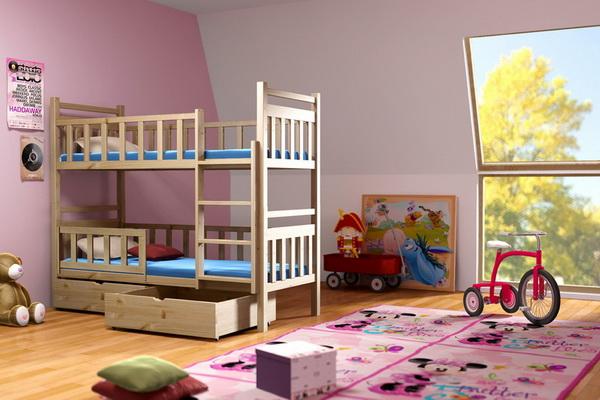 Dětská dřevěná postel patrová PP009