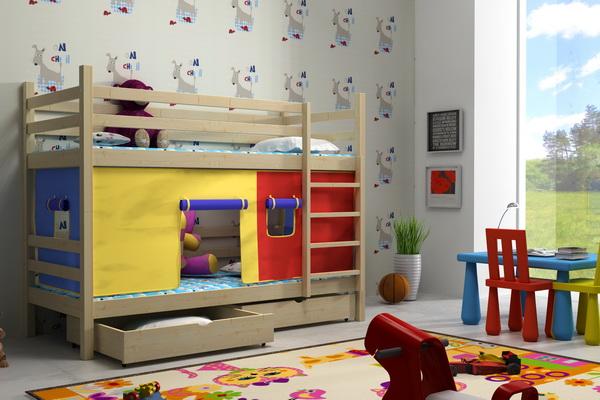 Dětská dřevěná postel patrová PP011