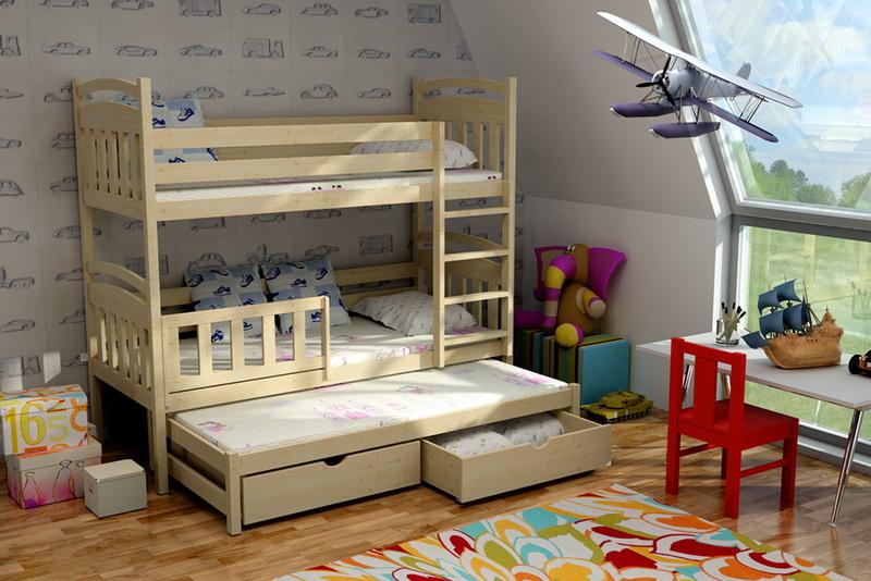 Dětská dřevěná postel patrová s přistýlkou PPV001