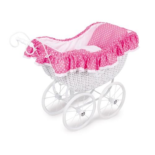 Kočárek pro panenky proutěný růžový