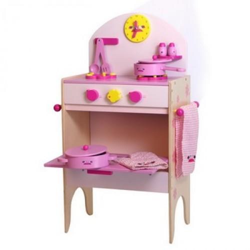Dětská kuchyň dřevěná růžová