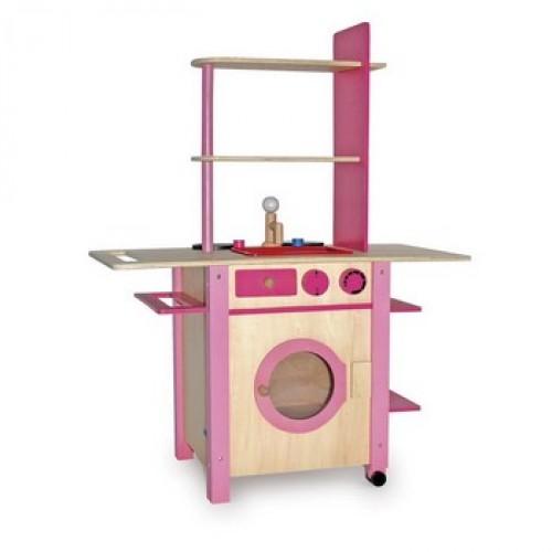 """Dětská kuchyň dřevěná """"All in One"""" růžová"""