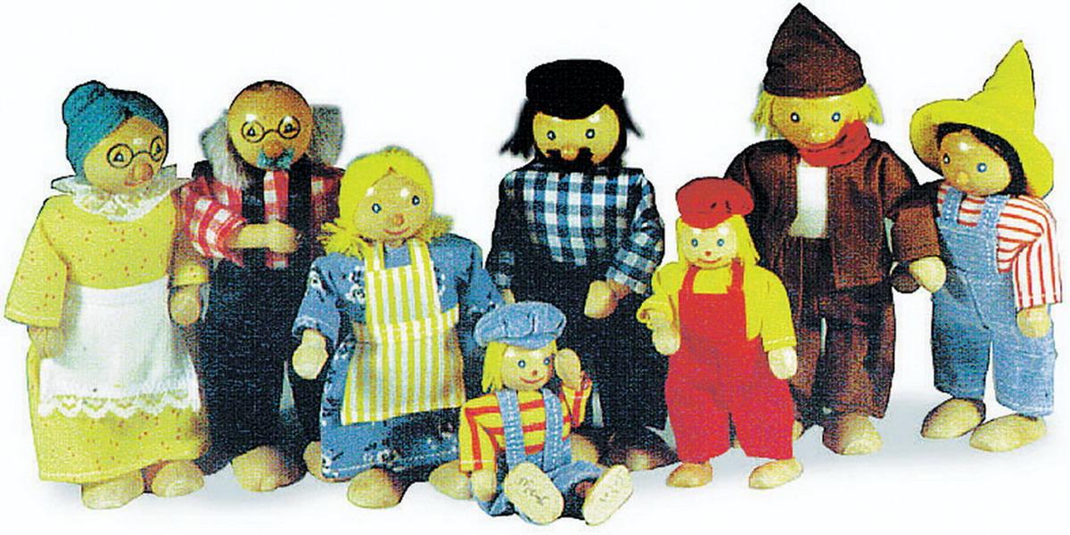 """Panenky - dřevěné figurky """"farmářská rodina"""""""
